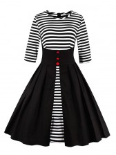 Stripes Patchwork Half Sleeves Casual Cocktail Party Dress