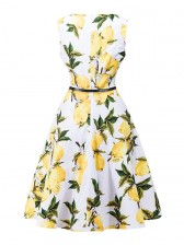 Elegant Lemon Print Sleeveless Cocktail Party Gardon Swing Dress