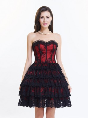 Victorian Elegant Sweetheart Neck Strapless Lace Overlay A-line Corset Dresses Red Black