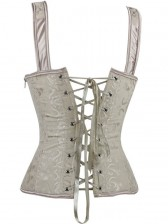 Wide Strap Lace-Up Brocade Corset