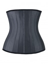 25 Spiral Steel Boned Black Latex Waist Trainer Waist Training Cincher with Zip