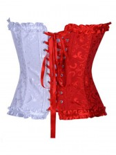 Floral Brocade red & white Corset