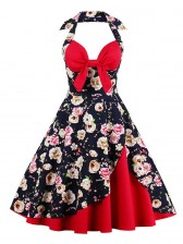 Vintage Sweetheart Floral Print Halter Cocktail Party Dress Red
