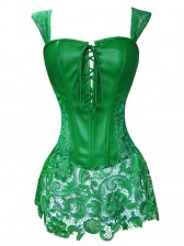 Steampunk Sexy Green Faux Leather Long Lace Embellished Corset with Lace Skirt