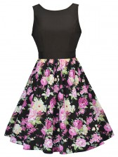Women's Vintage Sleeveless Floral Swing Dress With Belt Black Pink