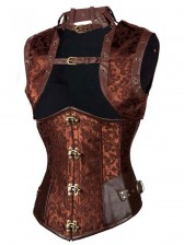 Vintage Brown Steel Boned Jacquard Busk Closure Underbust Corset with Jacket
