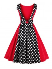 Sexy Sweet Polka Dot Print Patchwork Halter Cocktail Party Dress