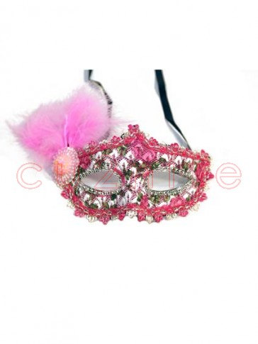 Colored Masquerade Masks with Pink Feather