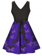 Women's Vintage Sleeveless Floral Swing Dress With Belt Blue Black