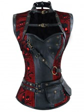Steampunk Black and Red Steel Boned Skulls Print High Neck Corset with Jacket