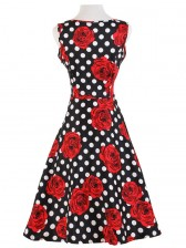 1950's Vintage Retro Polka Dot Rose Floral Print Party Cocktail Tea Dress
