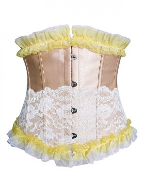 Fashion Sexy Gold Artificial Silk Lace Ruffles Underbust Corset