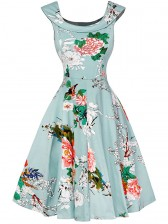 1950's Vintage Floral Print Sleeveless Cocktail Party Swing Dress