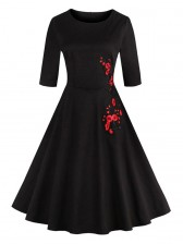 Classic 1950's Vintage Black Half Sleeves Casual Cocktail Party Dress