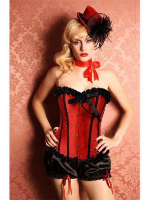 Clearance Red Burlesque Girl Corset with Pleated Trim