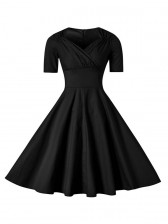 Elegant 1950's Vintage Pure Black Short Sleeve Casual Cocktail Party Swing Dress