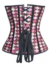 corset features a plaid print