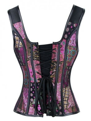 Steampunk Jacquard Steel Bone Corset Vest for Halloween