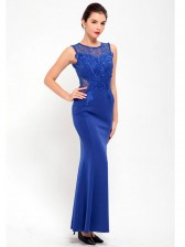 Royal Blue Lace Bodycon Evening Party Maxi Dress