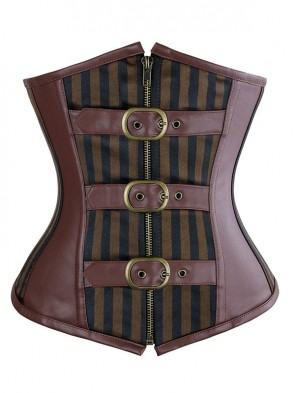Royal Fashion Brown Satin Stripe Steel Boned Underbust Corset