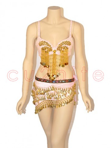 Deluxe Sequined Belly Dancer Bra and Hip Scarf Set - Pink