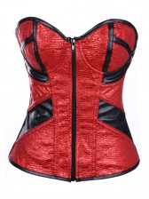 Glitter Pu Leather Zipper Corset Red