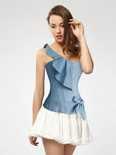 Blue Denim Single Shoulder Corset