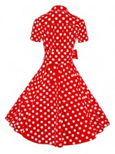 Red Polka Dot Short Sleeves Swing Rockabilly Ball Party Dress