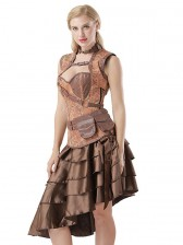 Steampunk Brown Corset with Sleeveless Jacket and Vintage Satin High-low Ruffles Skirt Sets