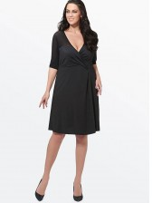 Women's Casual Plus Size Elbow Sleeve V Neck Loose Style Midi Dresses