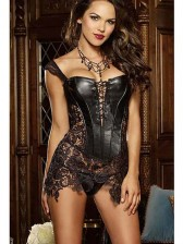 Sexy Black Lace Skirt Overbust Corset with Shoulder Straps