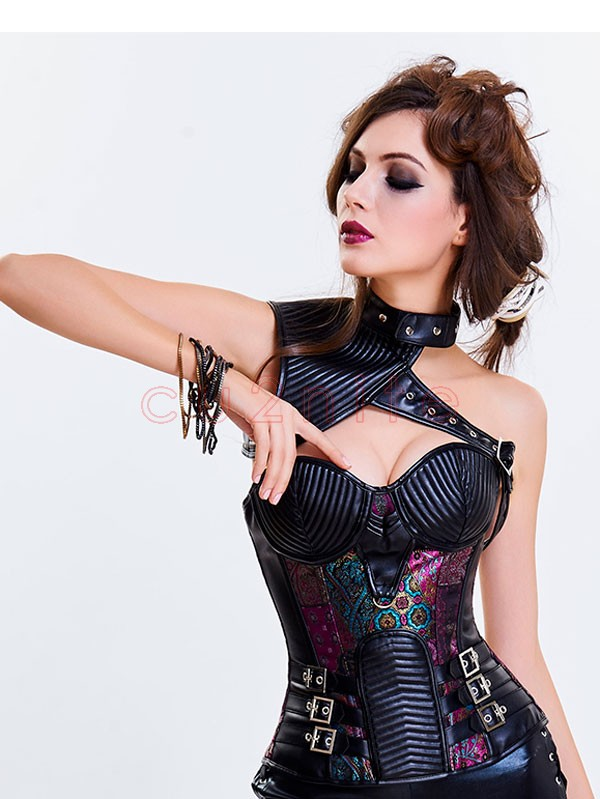38281d2599 Women s Steampunk Purple Steel Boned One-shoulder Leather Spiral Stripe  Shape Overbust Corset