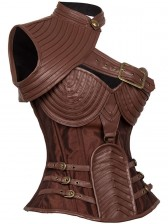 Steampunk Brown Steel Boned One-shoulder Leather Spiral Stripe Shape Corset