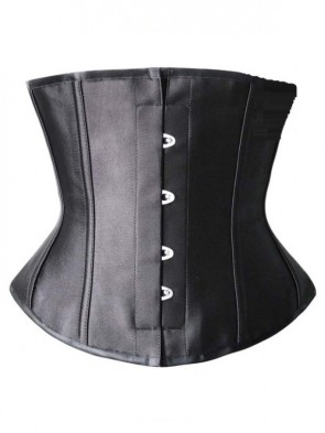 Fashion Elegant Black Satin Steel Bone Four Busk Closure Underbust Corset