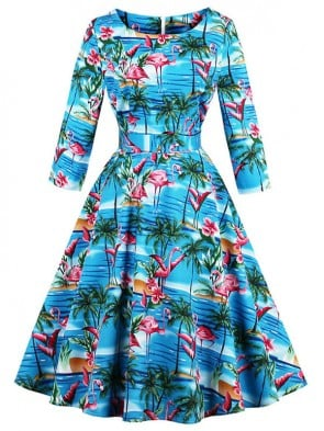 Women's Retro Vintage Round Neck 3/4 Length Sleeve Flamingo Print A-Line Swing Dress