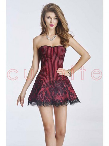 Gothic Sexy Red Strapless Stripe Lace Corset Dress