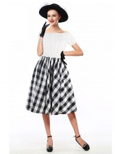 Sexy White Short Sleeve Off Shoulder Crop Top and Plaid Skirt Set