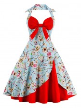 Vintage Sweetheart Floral Print Halter Cocktail Party Dress