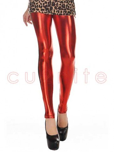 High Waist Metallic Leather Seamed Legging - Red