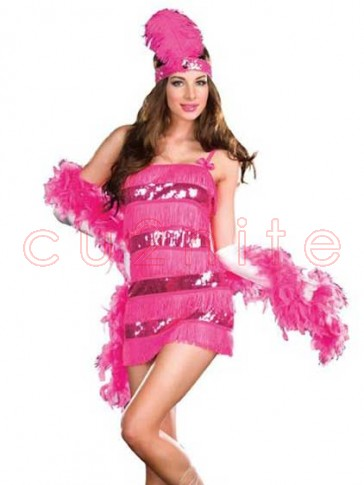 1920s Gatsby Girl Flapper Costume with Feather Boa
