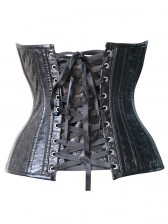 Skull Printed Leather Underbust Corset
