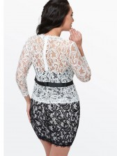Women's Sexy Sleeve Floral Lace Cap Bodycon Dresses