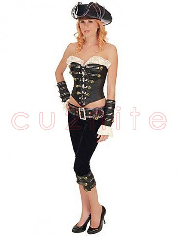 Deluxe Women Rouge Pirate Costume with Hat