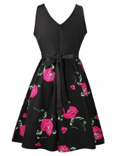 Women's Vintage Sleeveless Floral Swing Dress With Belt Black Red