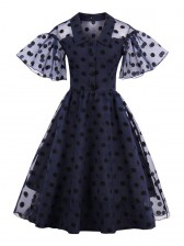 Vintage Rockabilly Polka Dot Print Mesh Cocktail Swing Dress