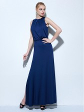 Women's Elegant Royalblue Sleeveless Split Side Pleats Floor-Length Evening Party Dress