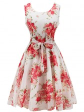 Graceful 1950's Vintage Chiffon Sleeveless Bleted Floral Print Valentine's Day Dress