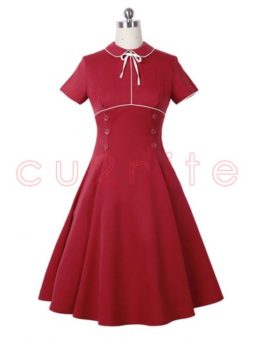 Women's Vintage Red Turn Down Collar Casual Cocktail Party Midi Dress