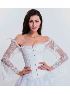 Women's Fashion Plastic Boned White Overbust Corset with Long Floral Lace Sleeve