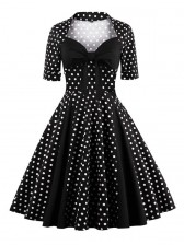 Vintage Retro Polka Dot Cocktail Party Swing Dress